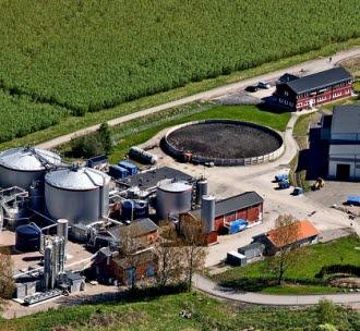 Biogasanläggningen i Linköping. Flygfoto.