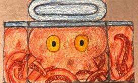 Teckning av bläckfisk som ska målas på ett elskåp